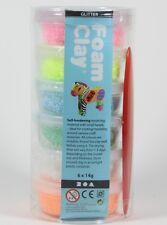 Foam Clay® Glitter Glitzer Set 6x14g Modelliermasse Kugelknete