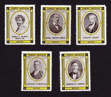 USA poster stamp cinderella FIVE American Artists Artist Arts Unused Stamps