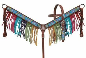 WESTERN-PONY-SIZE-HORSE-RAINBOW-PONY-LEATHER-TACK-SET-W-SUEDE-FRINGE