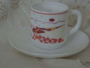 2-Arcopal-Rose-Coffee-Cup-And-Saucer-Tasse-et-soucoupe