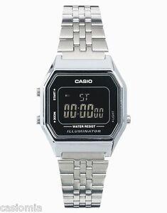 Casio LA680WA-1B Ladies Mid-Size Silver Digital Retro Vintage Watch ... 42c390d8a0ad
