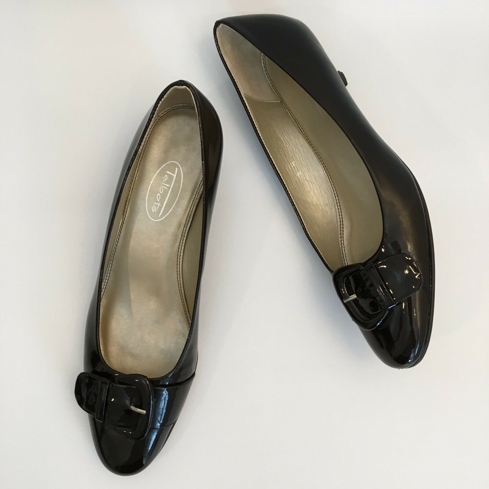 Talbots Size 8 N Dark Brown Leather Patent Leather Brown Kitten Heels Pumps Made in Spain c07b6b