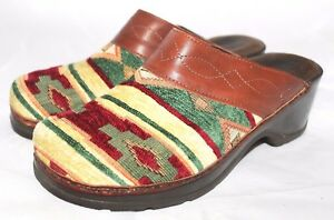 1a652c0ce9ca Image is loading MODELLISTA-Clogs-Southwest-Ranch-Woven-Slide-Brown-Leather-