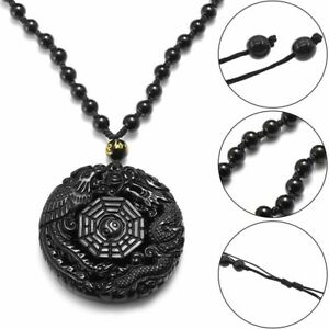 Lucky-Pendant-Necklace-Natural-Obsidian-Carved-Chinese-Dragon-Phoenix-BaGua-Gift