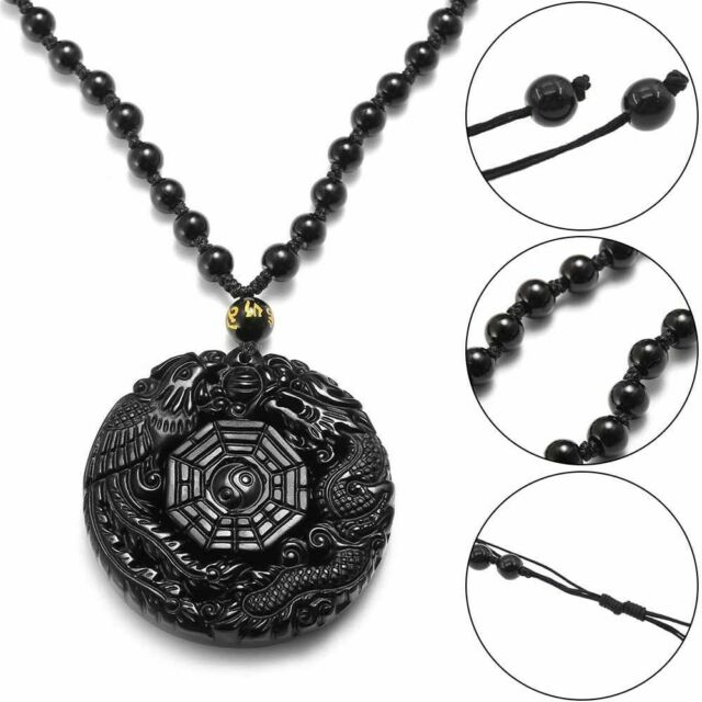 Natural Obsidian Carved Chinese Lucky Coin Bat Amulet Pendant rope Necklace