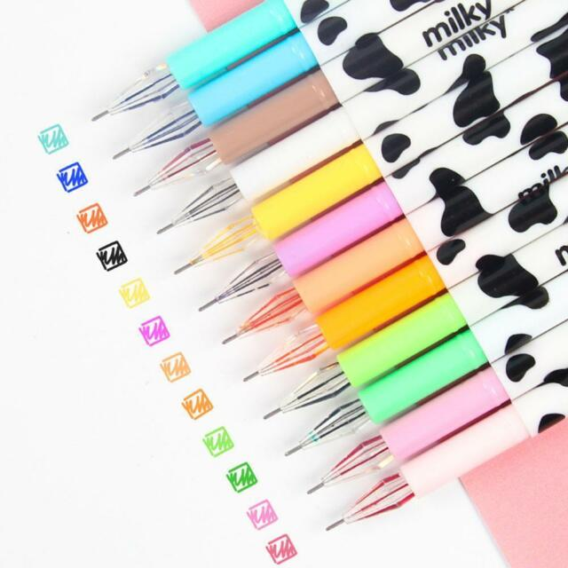 12 Pcs Cute Milky Gel Pens Ballpoint Pen Set Study Stationery Student Supplies