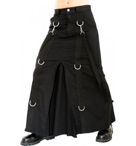 Gothic Black Denim Skirt For Mens