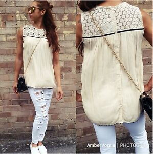 ZARA-IVORY-BEADED-BUTTON-UP-BACK-TOP-BLOUSE-SIZE-XS-UK-6-EU-34