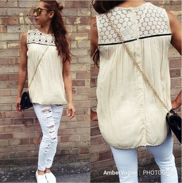ZARA IVORY BEADED  BUTTON UP BACK TOP BLOUSE SIZE XS UK 6 EU 34