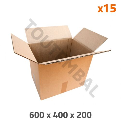 Carton double cannelure 600 x 400 x 200 mm par 15