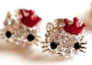 NEW-Hello-Kitty-Style-Rhinestone-Red-Crown-Stud-Earrings-for-Girls-of-All-Ages