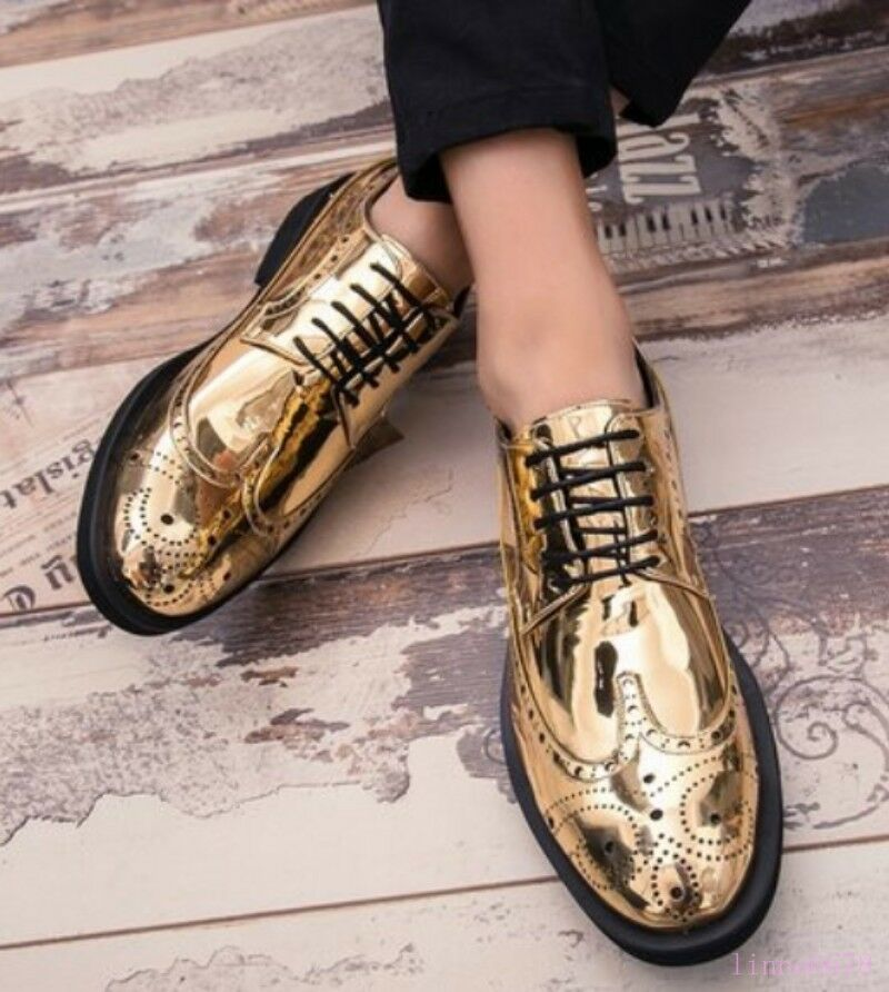 New Men Formal Shiny Leather Lace UP Wing Tip Brogue Party Carved Nightclub shoes