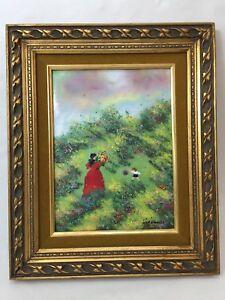 "Mark Moses Enamel on Copper Painting Landscape, Signed, Framed, 8 1/2"" x 12"""