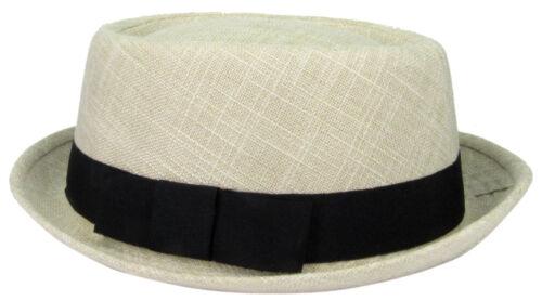 Tissu Pork Pie melon Fedora reprise Court Brim Chapeau Cap Large//XLarge
