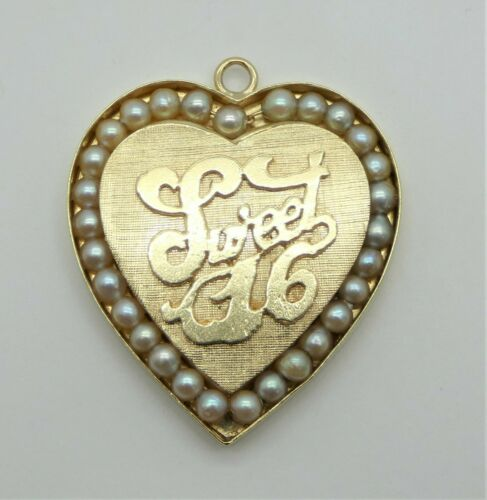 Large Vintage 14k Kitschy Sweet 16 Heart Shaped Ch