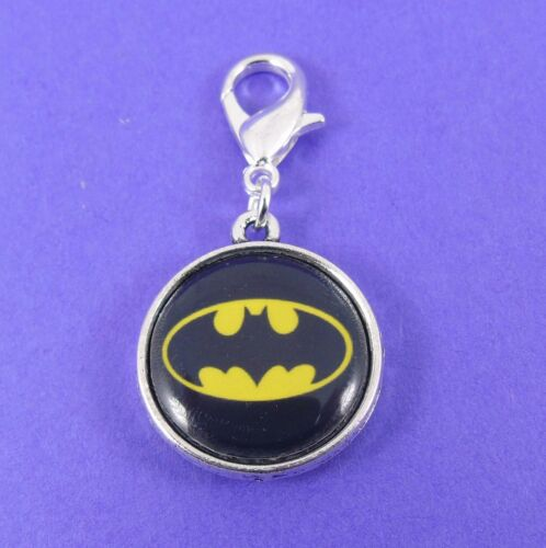 BATMAN CLIP ON CHARM dark knight bat scene dc super hero 80s retro comic kitsch