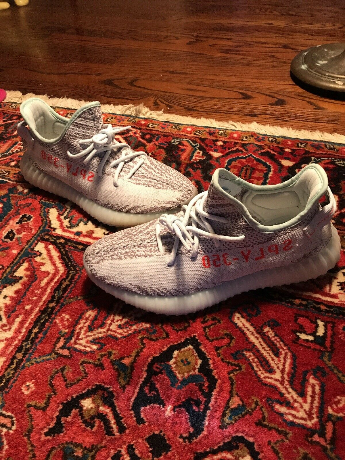 Adidas Yeezy Boost 350 V2 bluee Tint Grey Red B37571 SPLY 100% AUTHENTIC SIZE 10