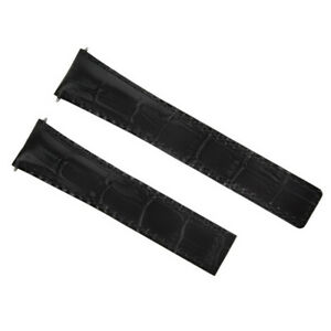 19MM LEATHER STRAP BAND FOR DEPLOYMENT CLASP TAG HEUER CARRERA BLACK RED STITCH