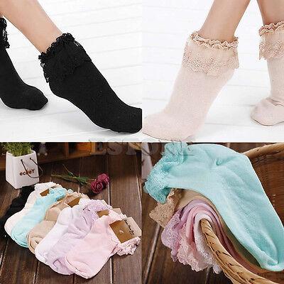 Princess Girl Cute Sweet Women Ladies Vintage Lace Ruffle Frilly Ankle Socks