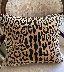 Custom Clarence House Samburu Leopard Velvet Pillow Grand Millennial