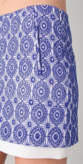 245 NEW Diane von Furstenberg DVF Elley Lace Eyelet Mini Skirt Periwinkle 6