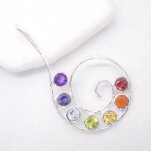 Amethyst-Granat-Citrin-Peridot-Blautopas-Chakra-Anhaenger-925-Sterling-Silber