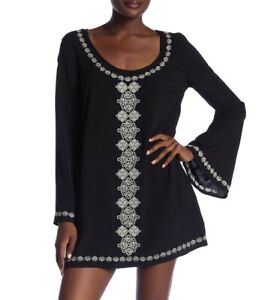 Love-Stitch-153198-Women-039-s-Bell-Sleeve-Embroidered-Tunic-Dress-Sz-Small