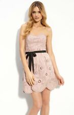BCBG MAUVE ROSE EYELET TAFFETA RIBBON TIE DRESS NWT 10 NWOT $468-RackA/64A