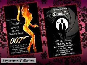 10 x Personalised James Bond 007 Birthday Party Invitations
