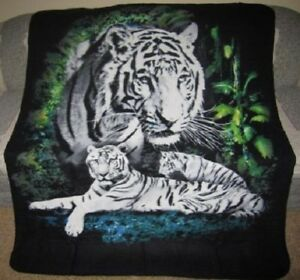 New Find 12 White Tigers Soft Fleece Throw Gift Blanket Jungle Tiger Cats Bengal