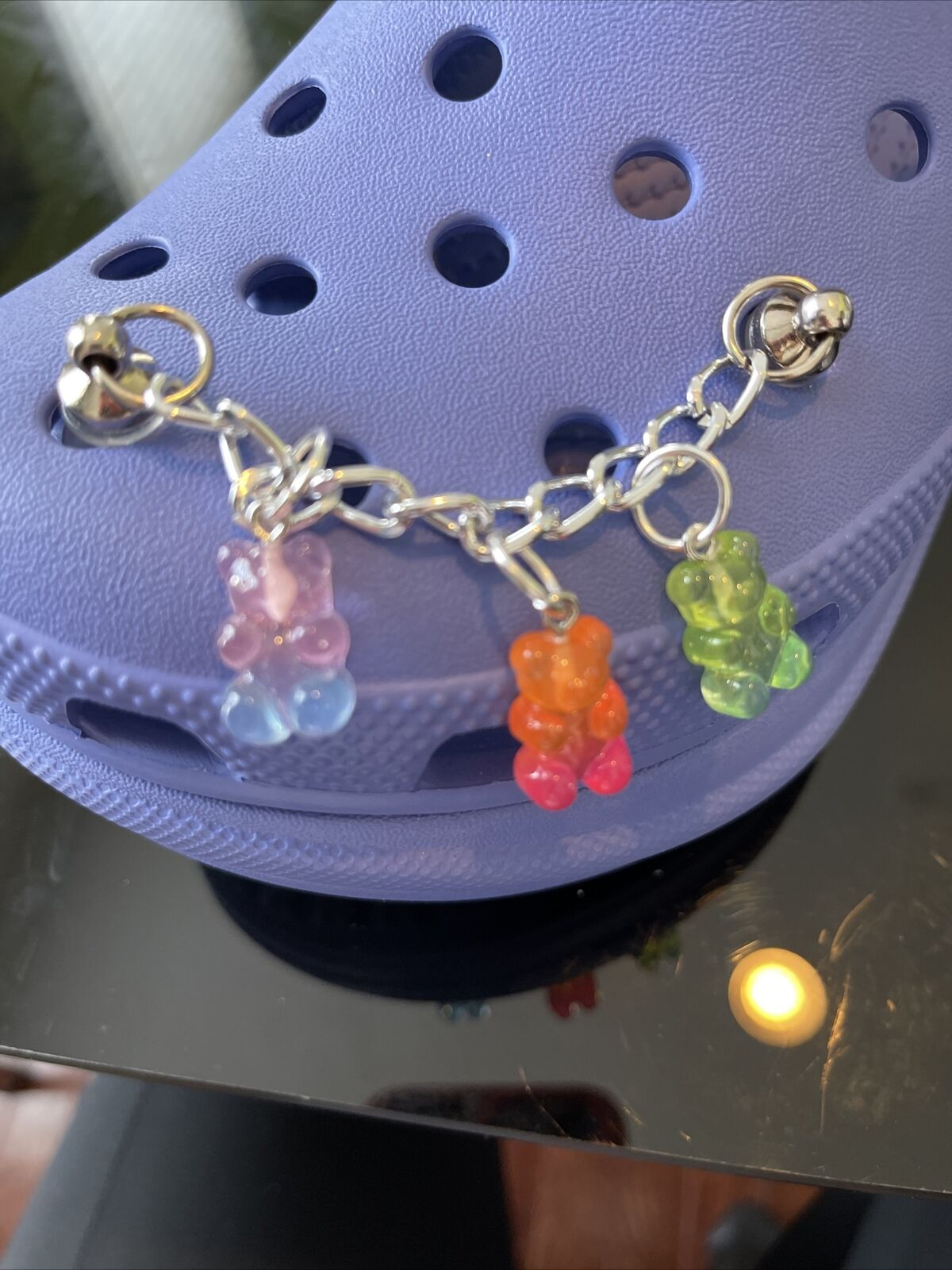 crocs inspired charms - Silver Chain Link With Gummy Bears - Colors Vary