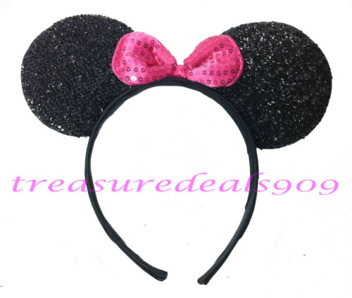 MICKEY MINNIE MOUSE EARS HEADBANDS BLACK PLUSH PINK BOWS PARTY FAVORS * 16 PCS