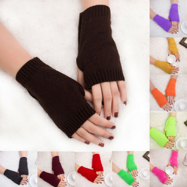 Women Girl Knitted Fingerless Winter Gloves Soft Warm Half Finger Mitten Welcome