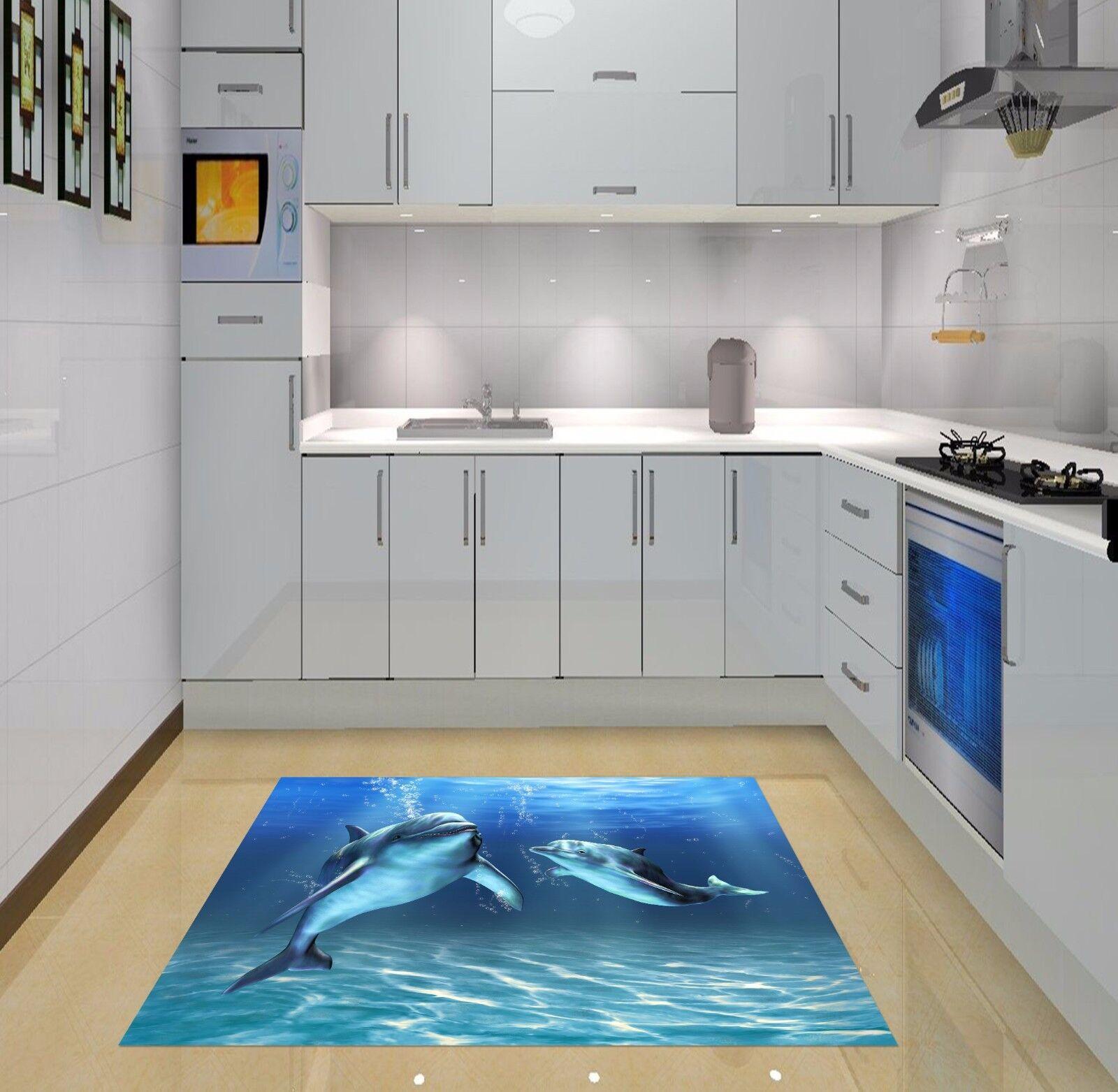 3D Ocean Dolphins Kitchen Mat Floor Murals Wall Print Wall Deco AJ WALLPAPER AU