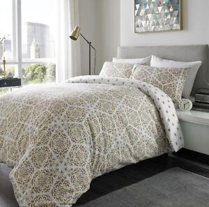100% Brushed Cotton Flannelette Reversible Duvet Set Gold Stars Mandala Design Bed Linens & Sets Bedding Sets & Duvet Covers
