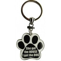 Paw Print Key Chain She Got The House, I Got The Dog