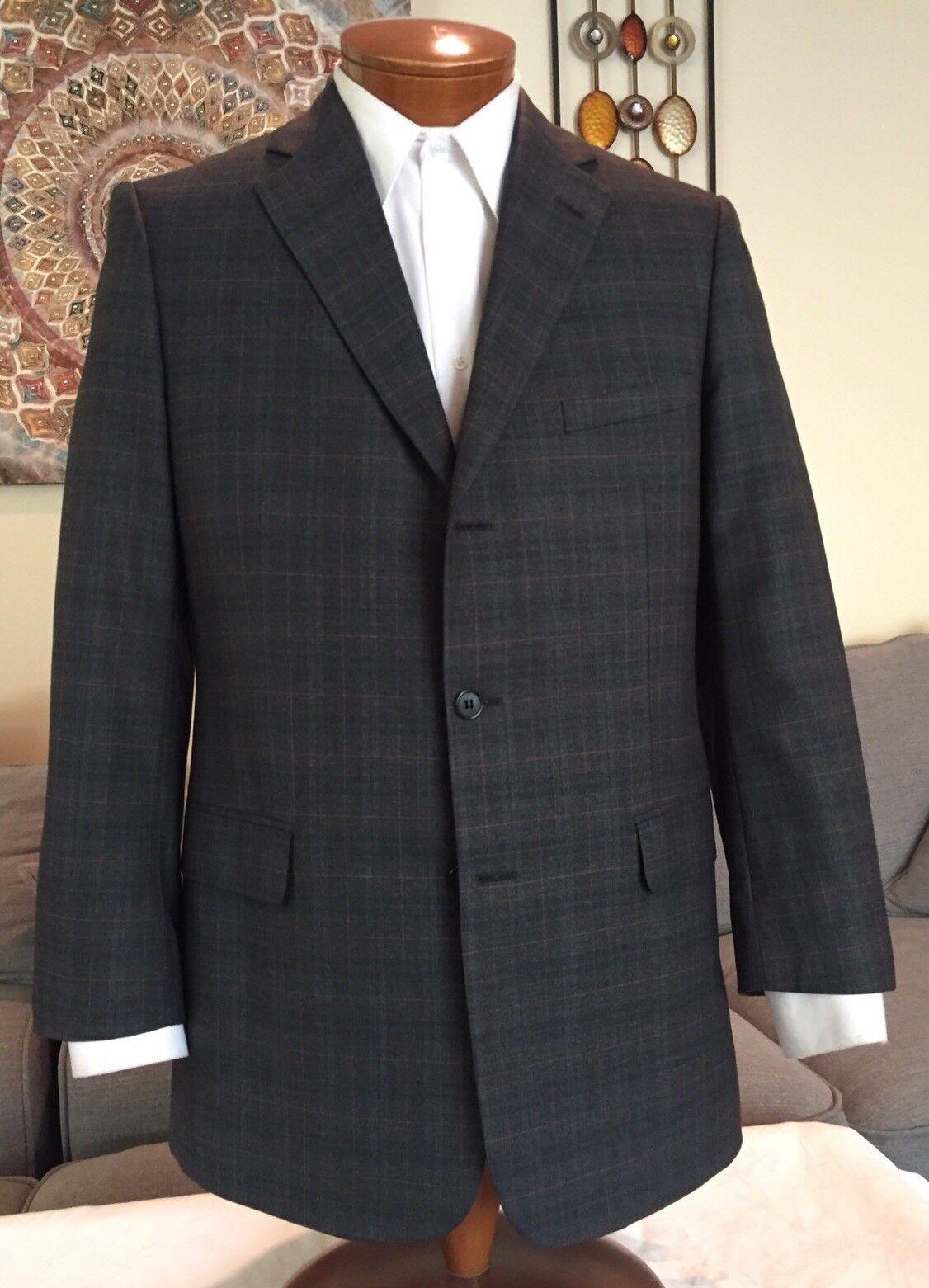 NEW Stunning Dunhill  Herren grau Plaid 3 Btn Dual Vent Suit Sz 40 R