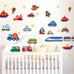 Airplane-Train-Car-Truck-Boat-Rocket-Bulldozer-Removable-Wall-Sticker-Kids-Boys