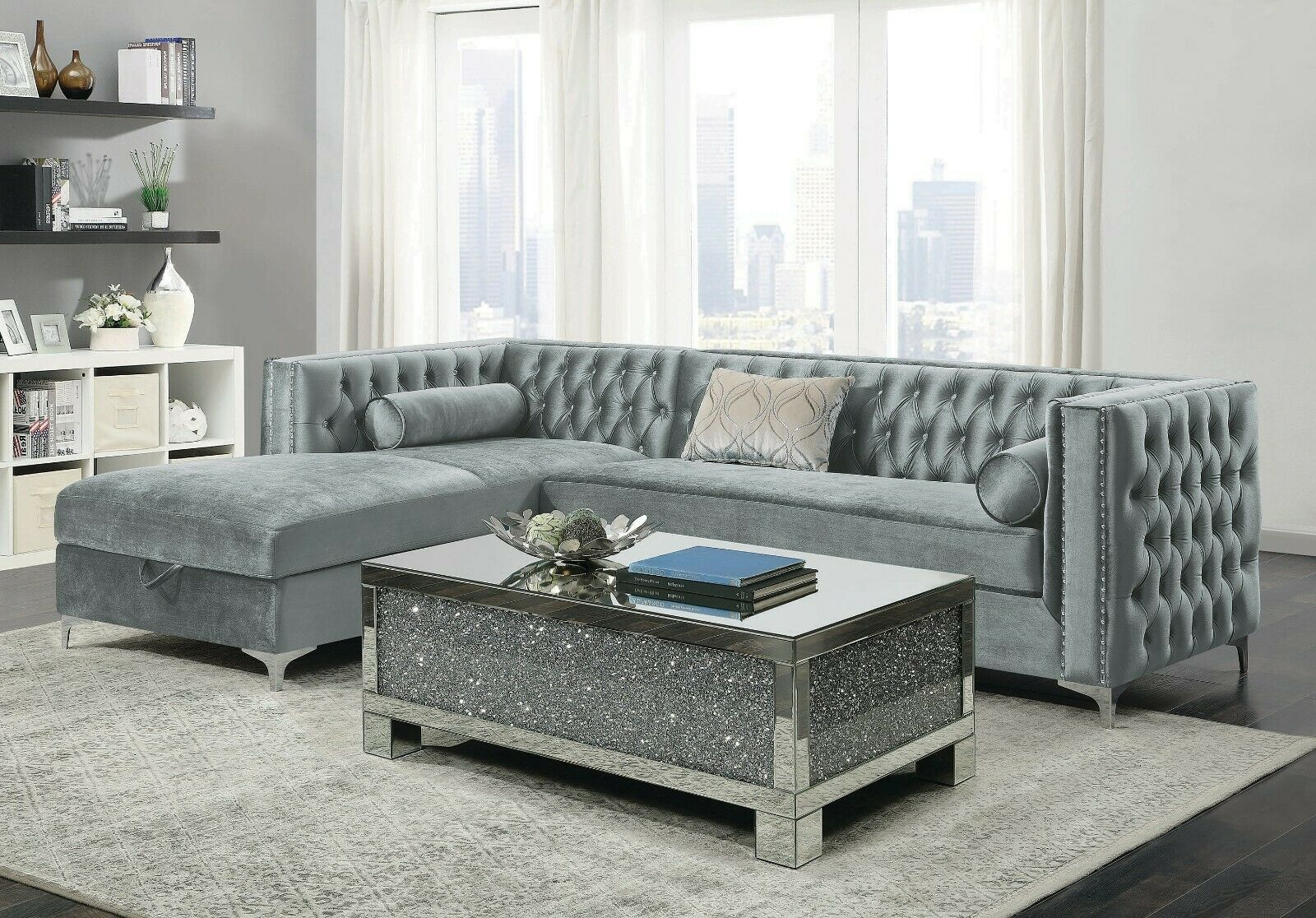 CONTEMPORARY SILVER VELVET STORAGE SOFA SECTIONAL LIVING ROOM FURNITURE SET  SALE