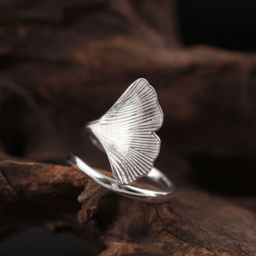 Großer Damen-Ring Ginkgoblatt echt Silber 925 größenverstellbar 49-64 offen
