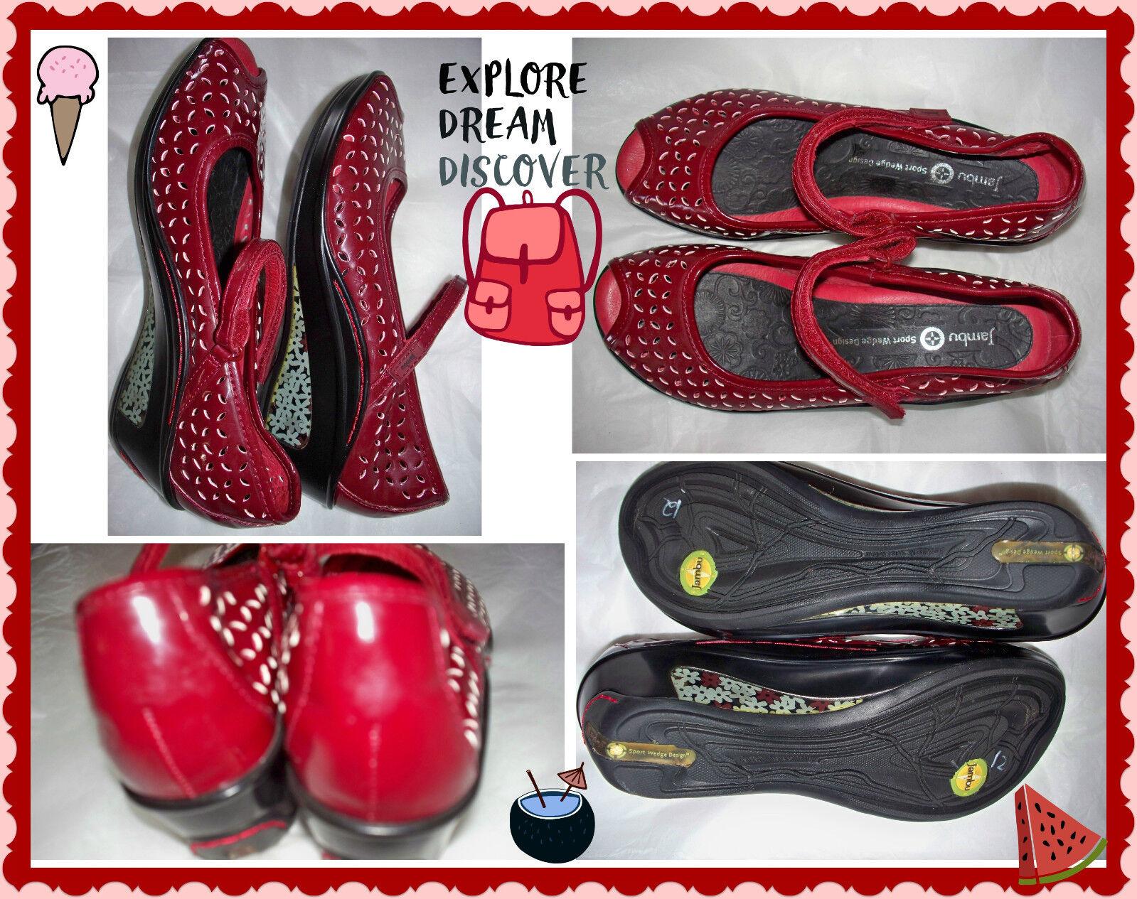 6.5 Jambu Plutón Plutón Plutón Estilo Mary Jane Peep Toe Zapatos De Tacón Patente Granate Vino Tinto cuñas  nuevo listado