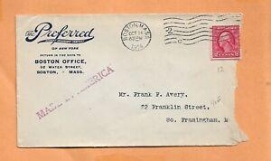 Preferido Insurance Co 1914 Boston Masa Clásico Publicidad Cubierta