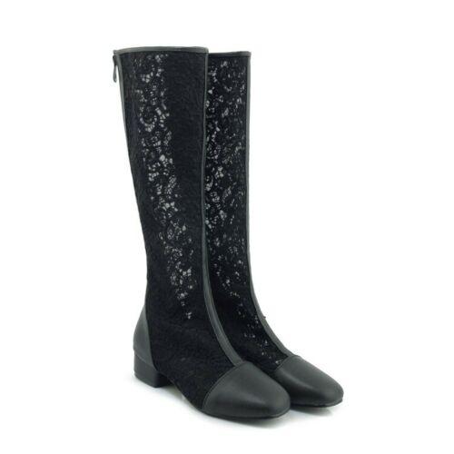 Womens Back Zipper Knee High Sandals Boots Lace Floral Breathable Shoes Plus sz