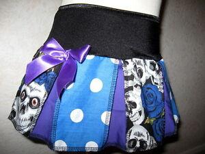 skulls Purple pleated skirt Baby Black White Blue spotted gothic Shower gift UK