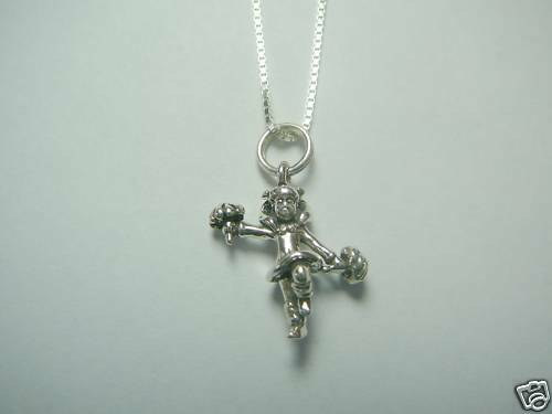 """Sterling Silver Cheerleader Necklace 16/"""" Length"""