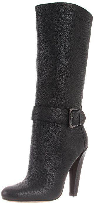 Joan & David Deon Designer Mid-calf Leather nero stivali  350 7M New
