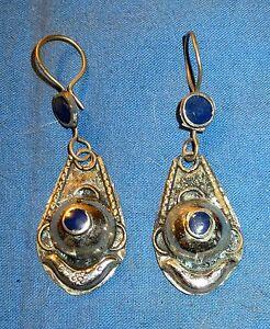 Earrings-Teardrop-Lapis-Afghan-Kuchi-Tribal-Alpaca-Silver-1-1-4-034