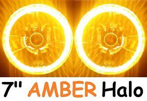 "AMBER 7"" Round LED Ring Halo Angel Eye DRL H4 Semi-Sealed Headlights Lights 1 pr"