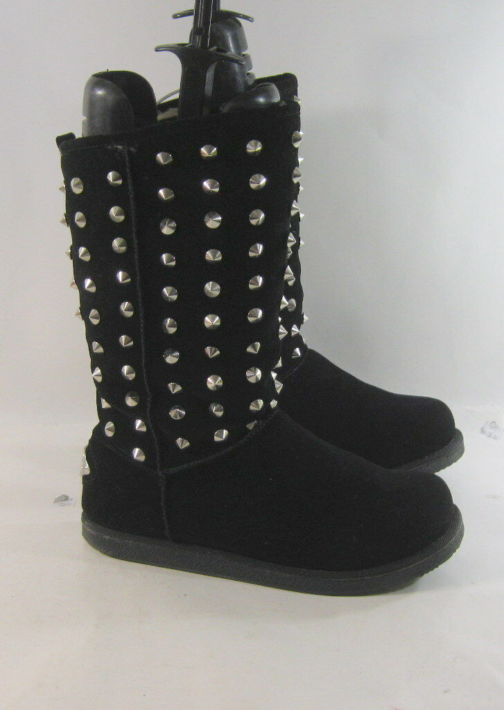 Ladies Black gold Spike Round Toe Winter Mid-Calf Boot Inside Fur Size 11