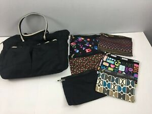 LeSportsac-LOT-of-8-Black-Nylon-Tote-Weekender-7-Zippered-Pouches-Makeup-Bags